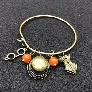 Antique Gold Steampunk Charm Bangle Bracelet